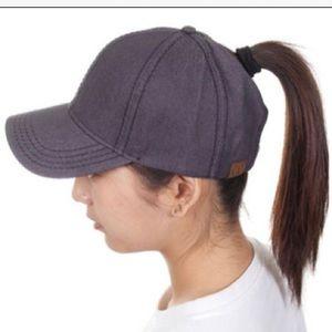 NWT CC Beanie Ponytail Baseball Cap - Grey